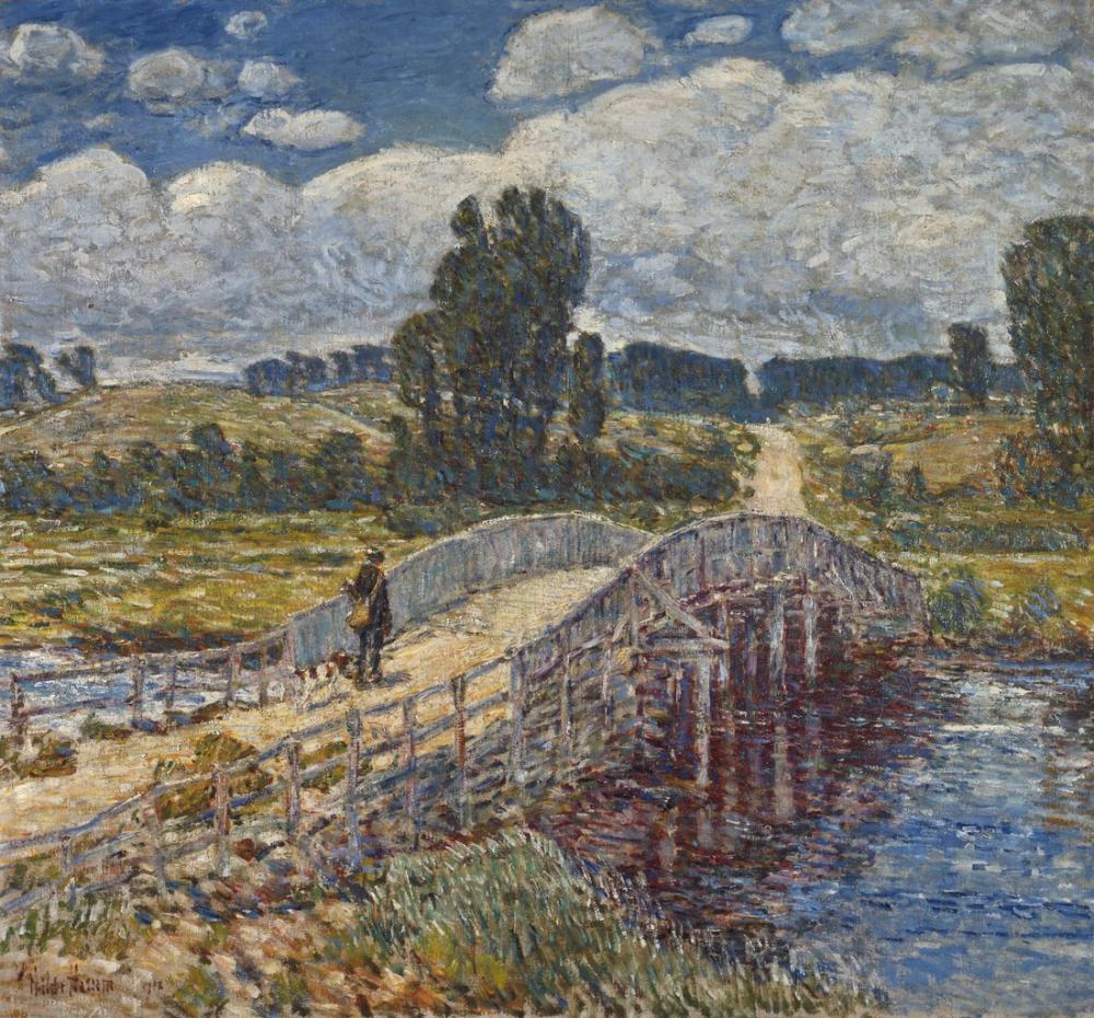Childe Hassam, Old Lyme'de Köprü, Kanvas Tablo, Childe Hassam