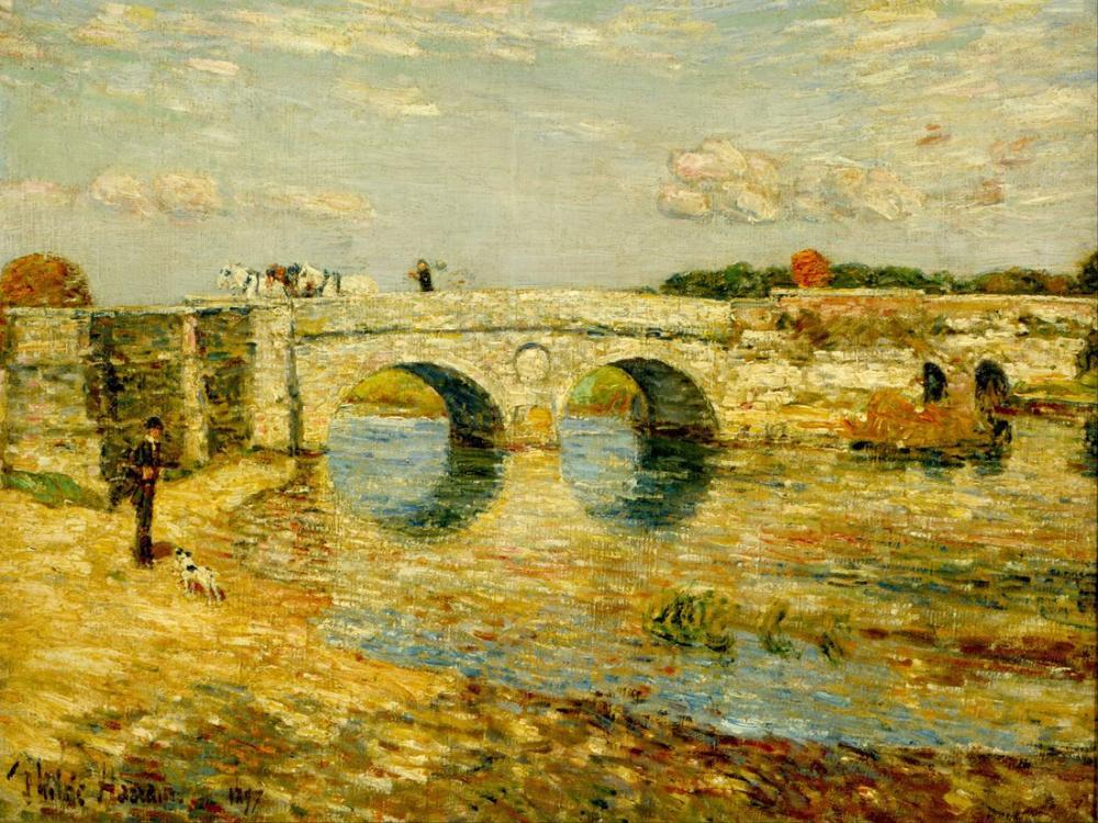 Childe Hassam, Stour üzerinde köprü, Kanvas Tablo, Childe Hassam