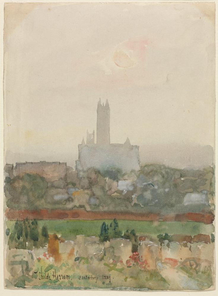 Childe Hassam, Canterbury Katedrali, Kanvas Tablo, Childe Hassam, kanvas tablo, canvas print sales
