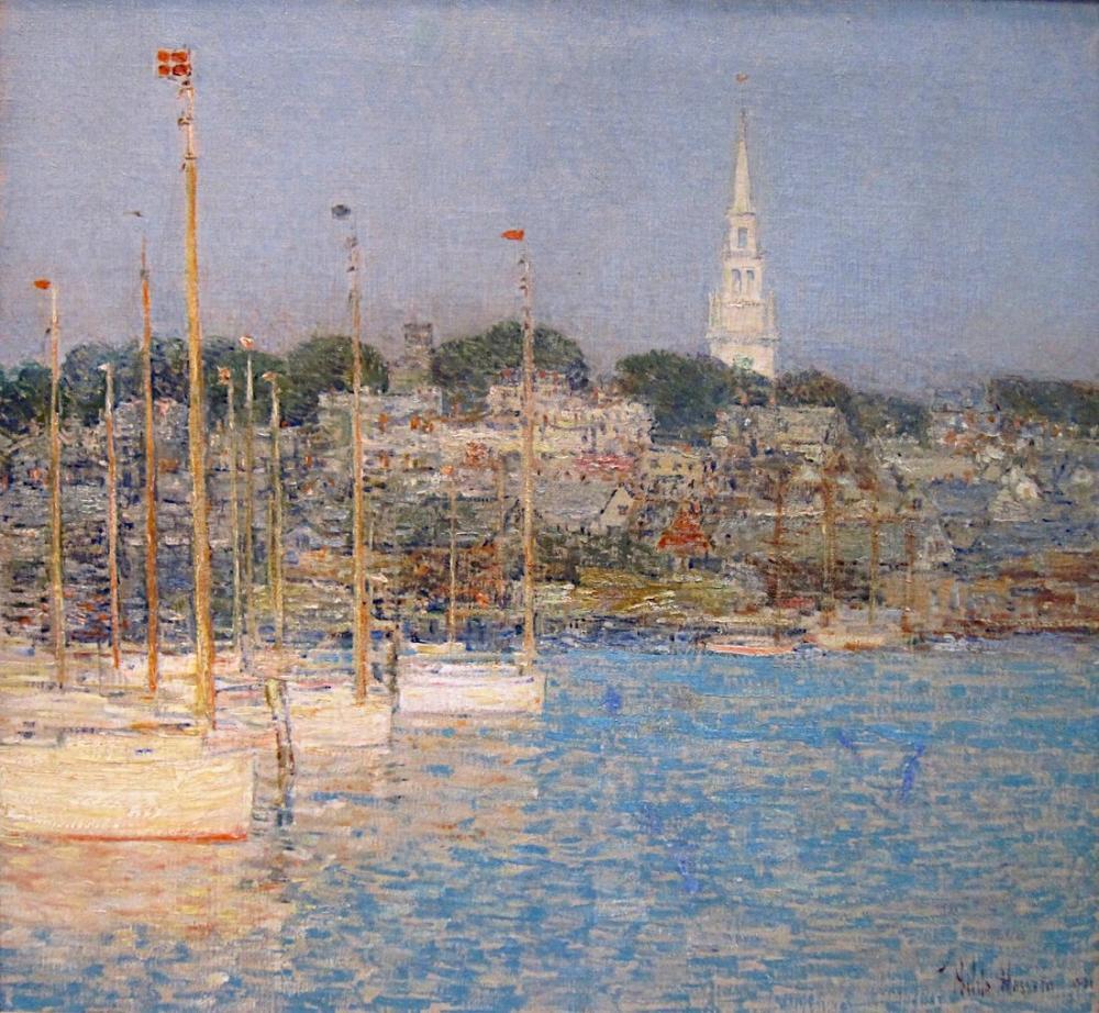 Childe Hassam, Cat Boats Newport, Canvas, Childe Hassam