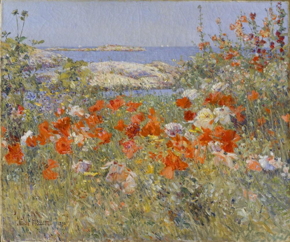 Childe Hassam, Celia Thaxter'ın Bahçesi, Kanvas Tablo, Childe Hassam