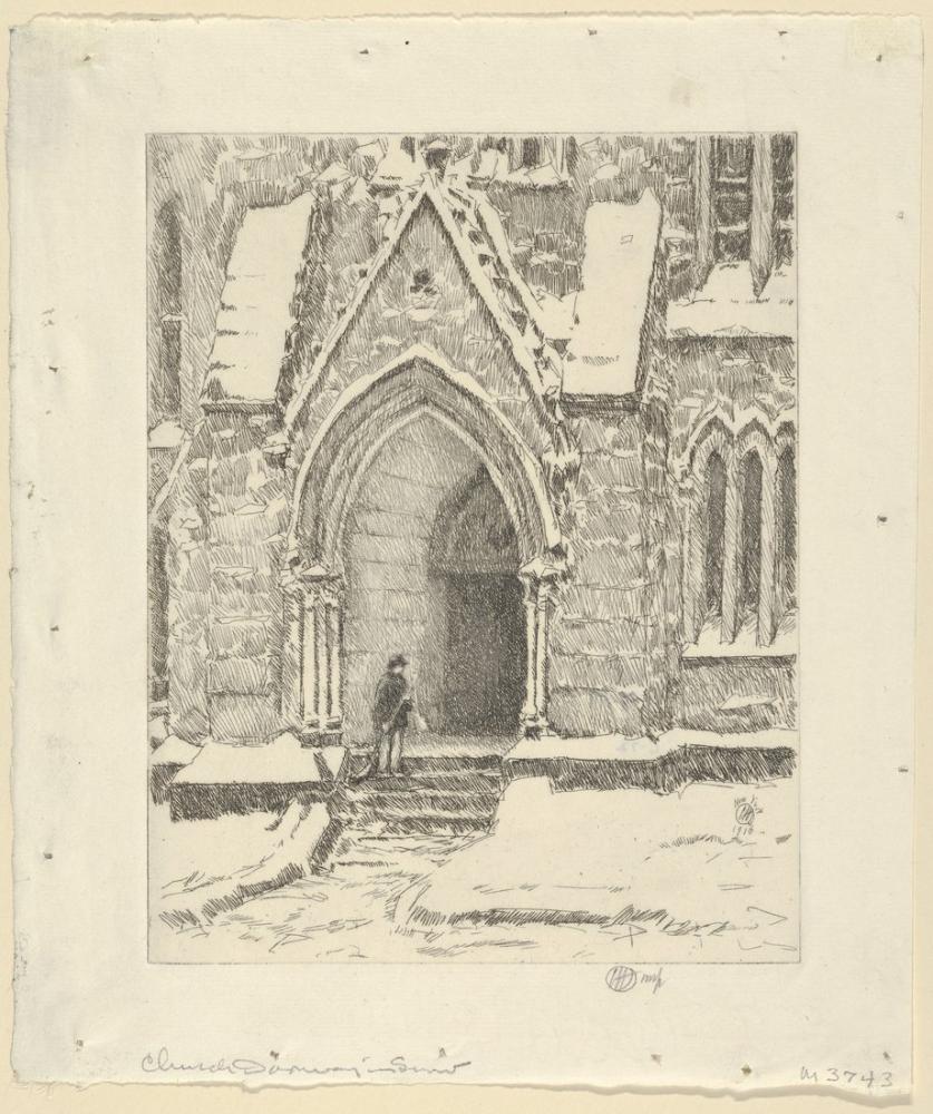 Childe Hassam, Kilisenin Kapı Kar, Kanvas Tablo, Childe Hassam