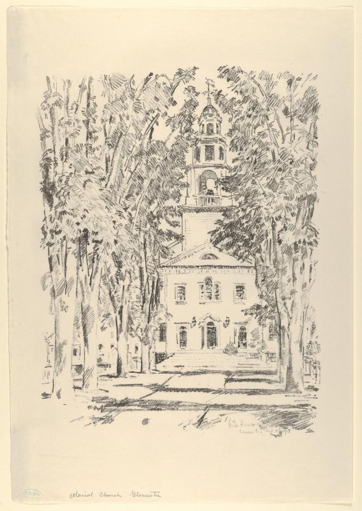 Childe Hassam, Colonial Church Gloucester, Canvas, Childe Hassam, kanvas tablo, canvas print sales