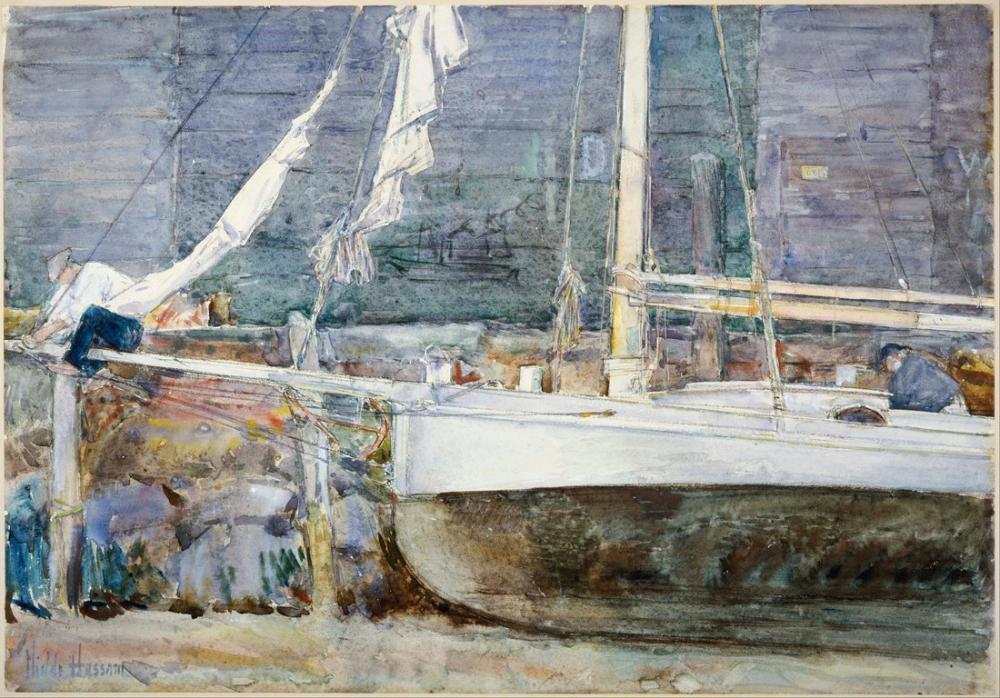 Childe Hassam, Drydock Gloucester, Canvas, Childe Hassam, kanvas tablo, canvas print sales