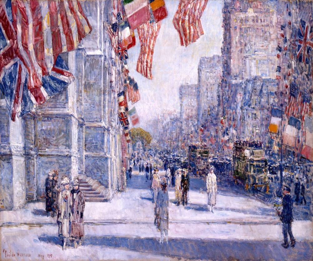 Childe Hassam, Early Morning on the Avenue in May, Canvas, Childe Hassam, kanvas tablo, canvas print sales