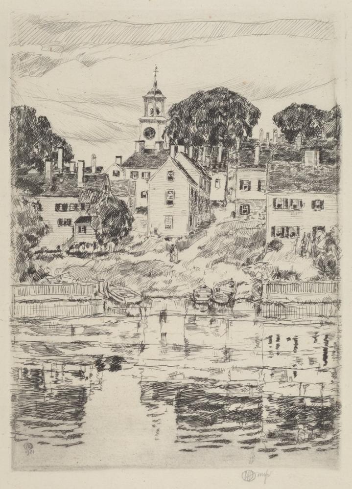 Childe Hassam, Almshouse, Canvas, Childe Hassam, kanvas tablo, canvas print sales