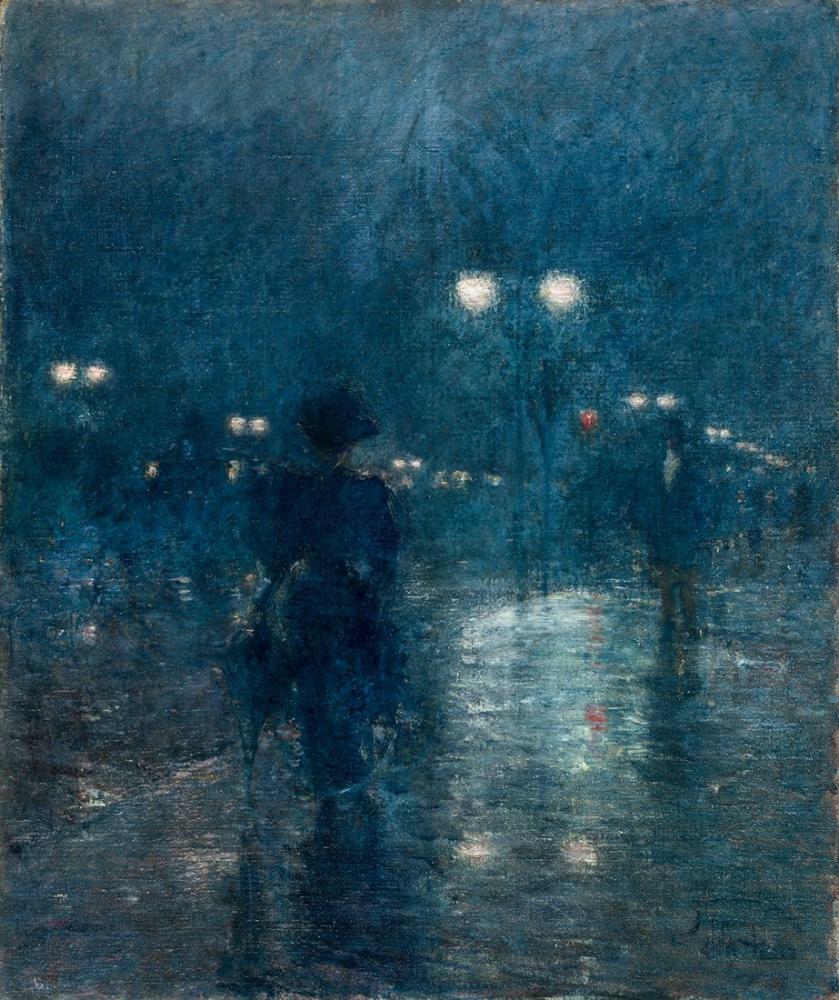 Childe Hassam, Beşinci Cadde Geceleri, Kanvas Tablo, Childe Hassam, kanvas tablo, canvas print sales