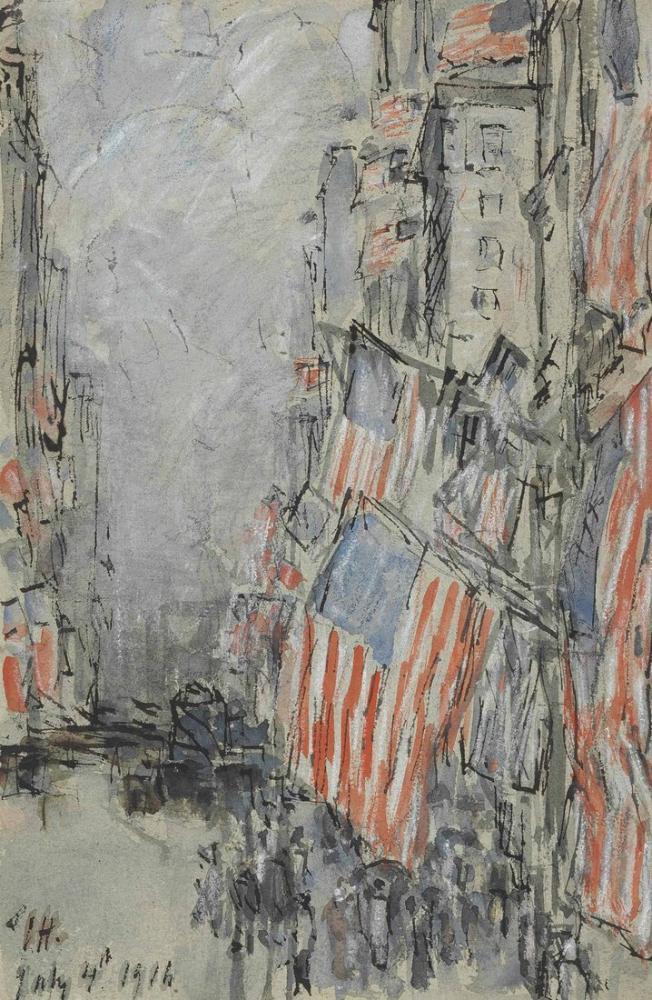 Childe Hassam, Bayrak Günü Beşinci Cadde Temmuz, Kanvas Tablo, Childe Hassam
