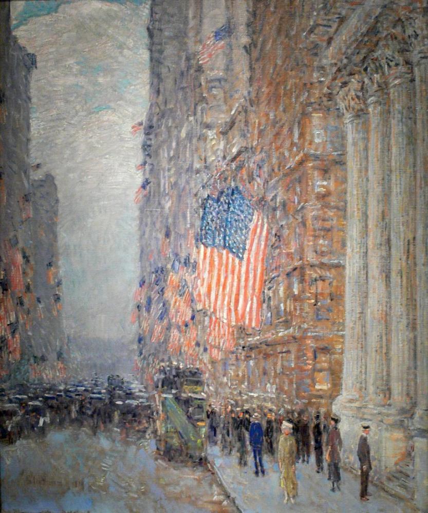 Childe Hassam, Flags on the Waldorf, Canvas, Childe Hassam, kanvas tablo, canvas print sales