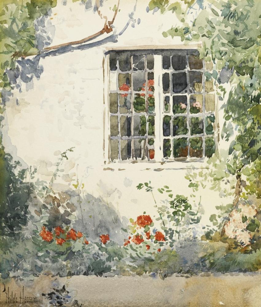 Childe Hassam, Beyaz Duvara Karşı Çiçekler, Kanvas Tablo, Childe Hassam