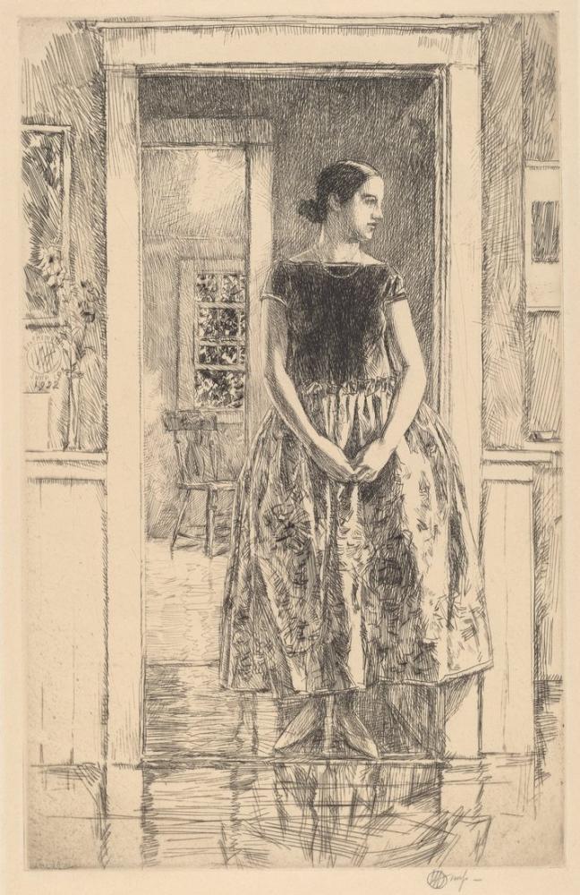 Childe Hassam, Modern Elbiseli Kız, Kanvas Tablo, Childe Hassam, kanvas tablo, canvas print sales