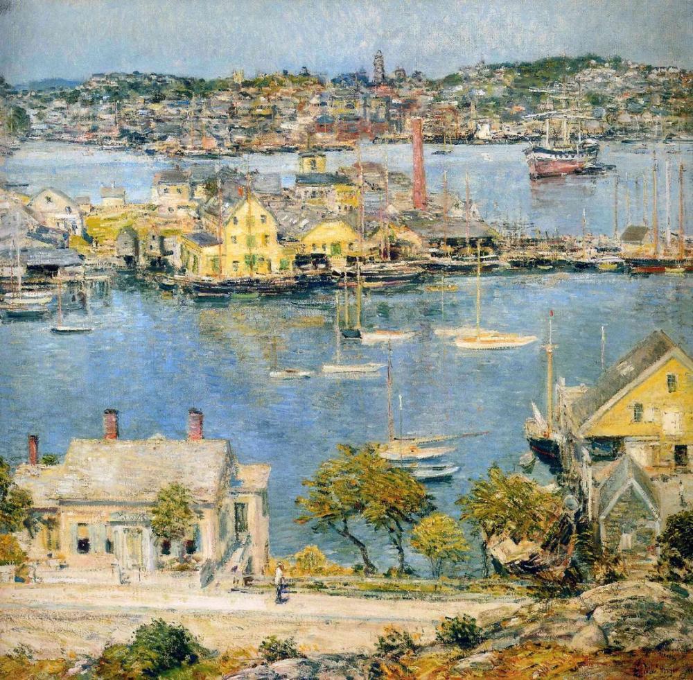 Childe Hassam, Gloucester Limanı, Kanvas Tablo, Childe Hassam