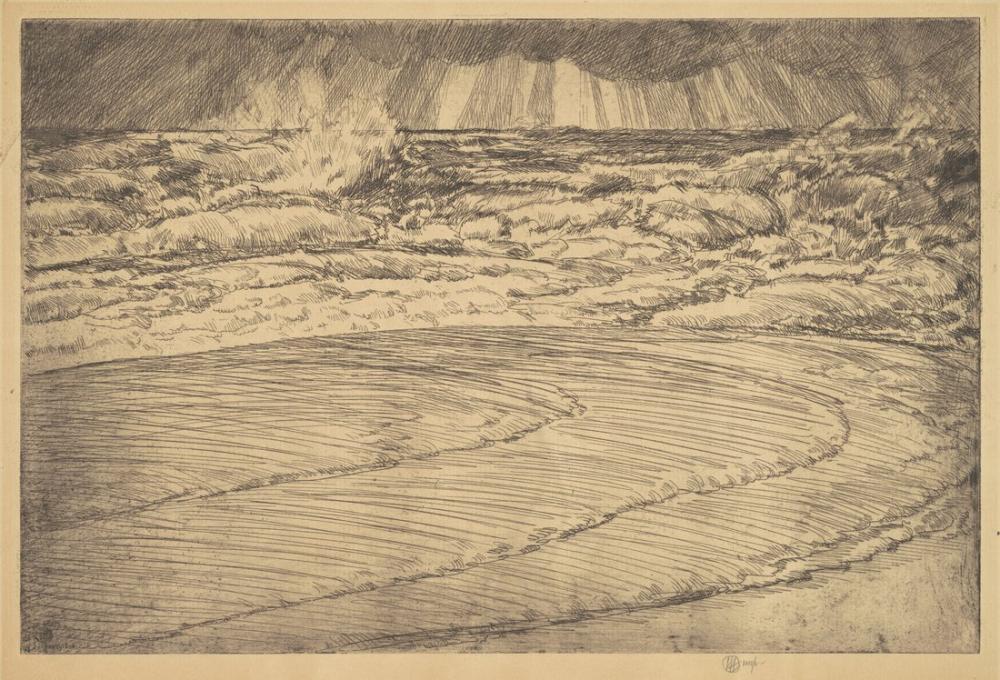 Childe Hassam, Ağır Sörf Yüksek Gelgit Easthampton, Kanvas Tablo, Childe Hassam