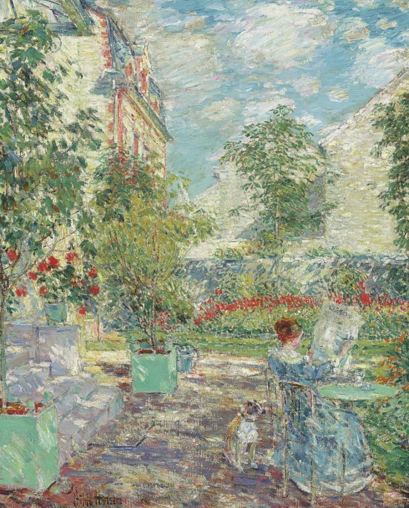 Childe Hassam, Fransız Bahçesinde, Kanvas Tablo, Childe Hassam