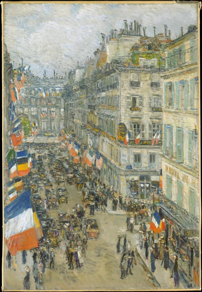 Childe Hassam, 14 Temmuz Rue Daunou, Kanvas Tablo, Childe Hassam, kanvas tablo, canvas print sales