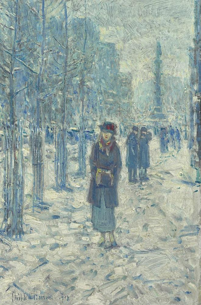 Childe Hassam, Kitty Walking in Snow, Canvas, Childe Hassam, kanvas tablo, canvas print sales