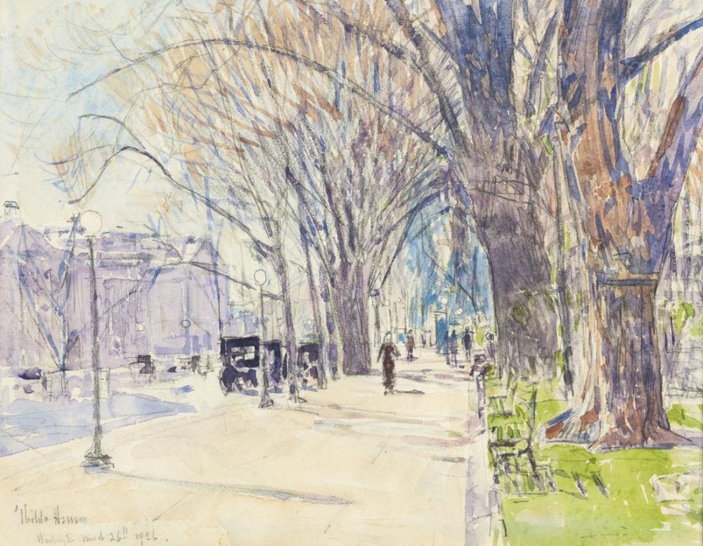 Childe Hassam, Lafayette Park, Canvas, Childe Hassam, kanvas tablo, canvas print sales