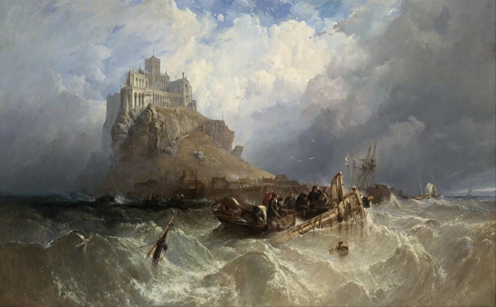 Clarkson Frederick Stanfield, St Michael Cornwall Dağı, Kanvas Tablo, Clarkson Frederick Stanfield