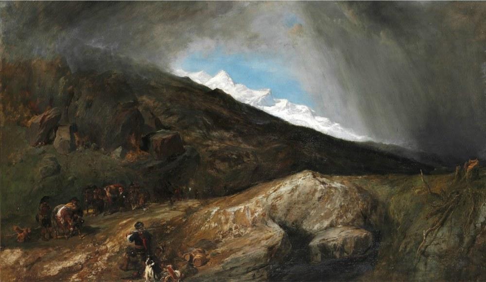 Bir Avcı ve Yolcuları ile Dağlık Manzara, Kanvas Tablo, Clarkson Frederick Stanfield, kanvas tablo, canvas print sales