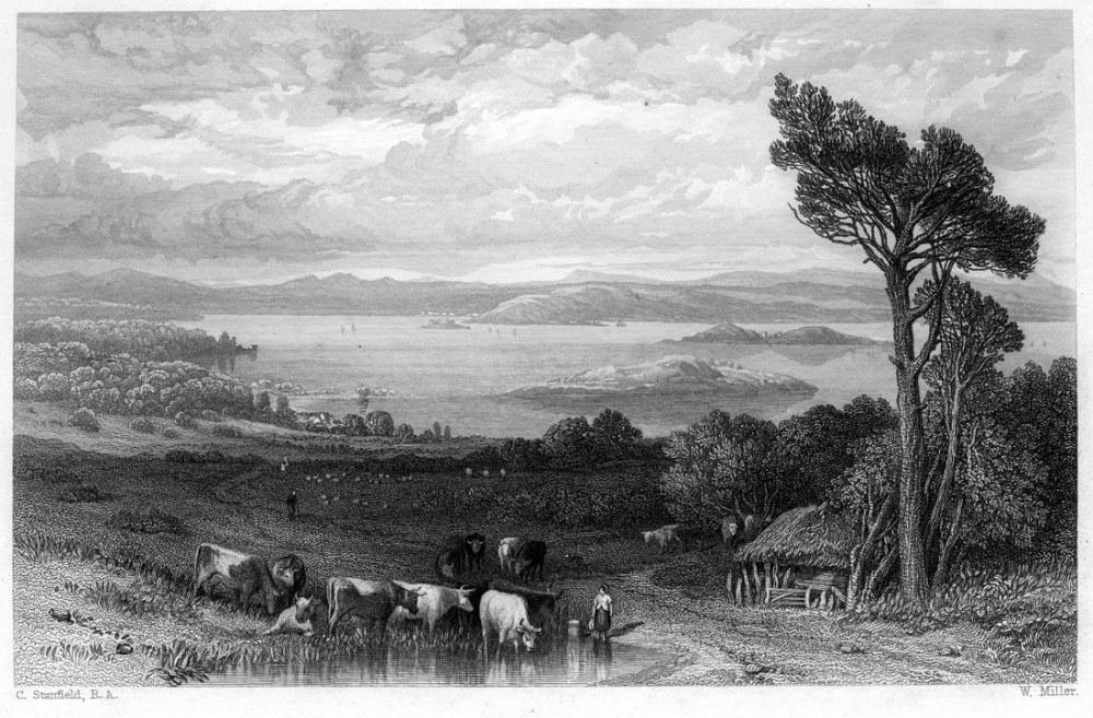 Barnbougle Kalesi ve Laurieston Kalesi Gravür'den Firth of Firth, Kanvas Tablo, Clarkson Frederick Stanfield