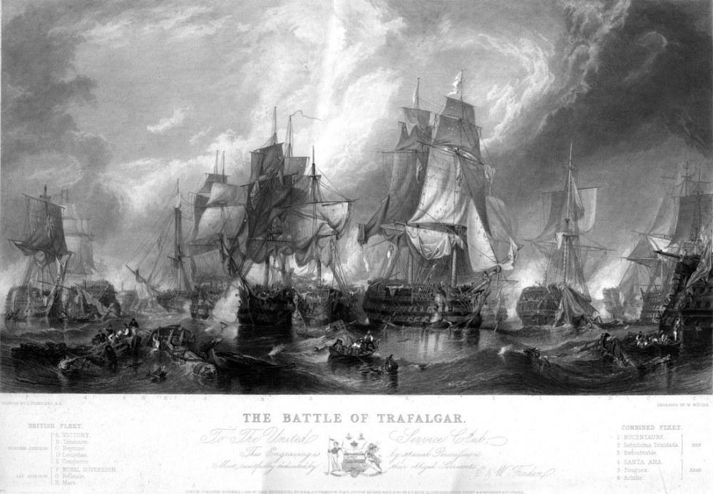 Trafalgar Savaşı, Gravür, Kanvas Tablo, Clarkson Frederick Stanfield