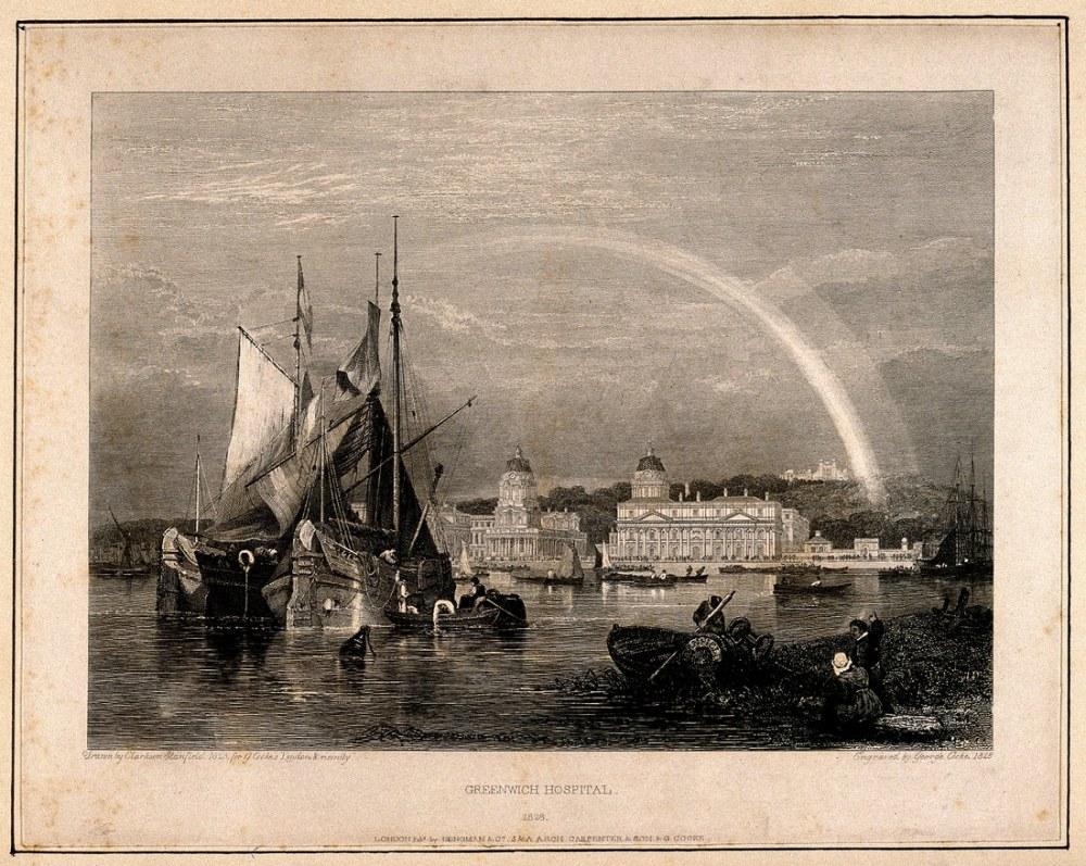 Gökkuşağı ile Kraliyet Donanma Hastanesi Greenwich, Kanvas Tablo, Clarkson Frederick Stanfield
