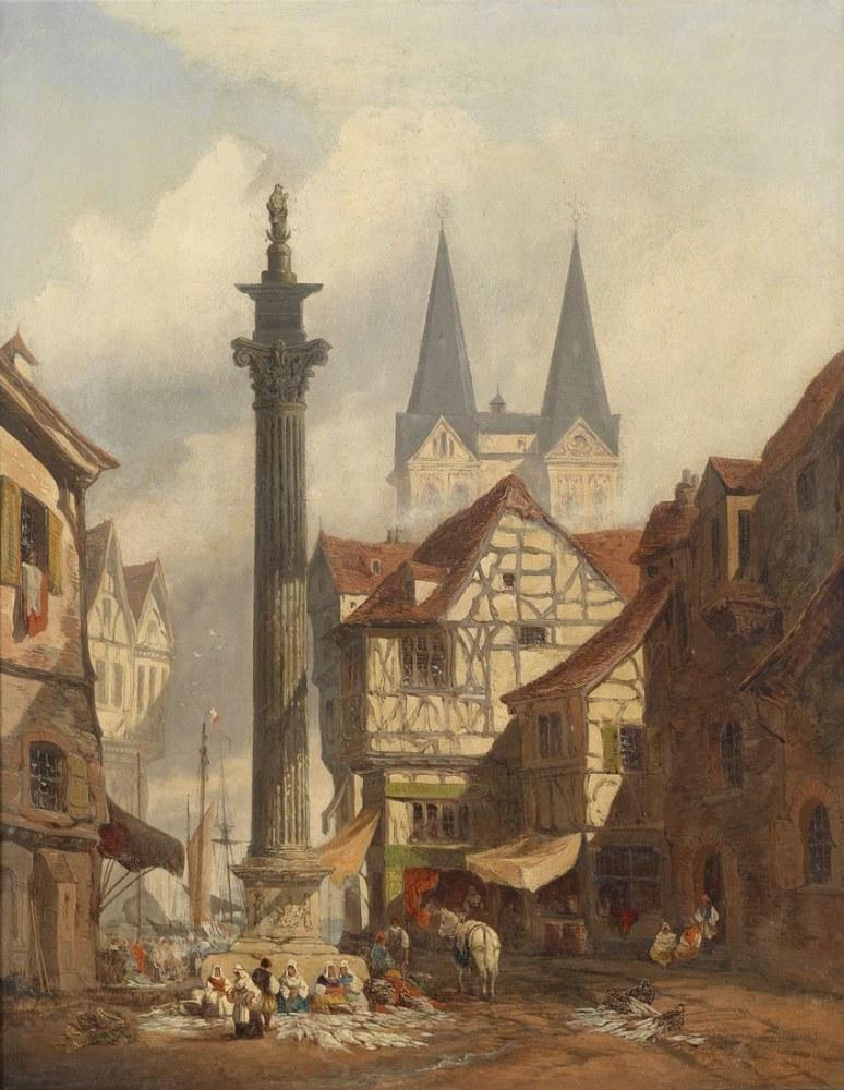 City View With Fish Market, Kanvas Tablo, Clarkson Frederick Stanfield