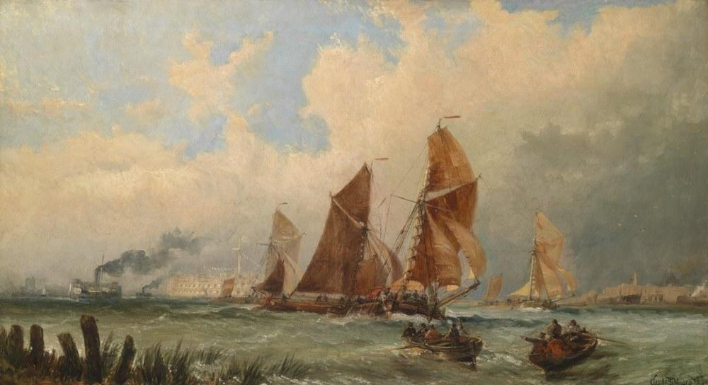 Claude T S Moore Portsmouth Limanında Gemi, Clarkson Stanfield, Kanvas Tablo, Clarkson Frederick Stanfield