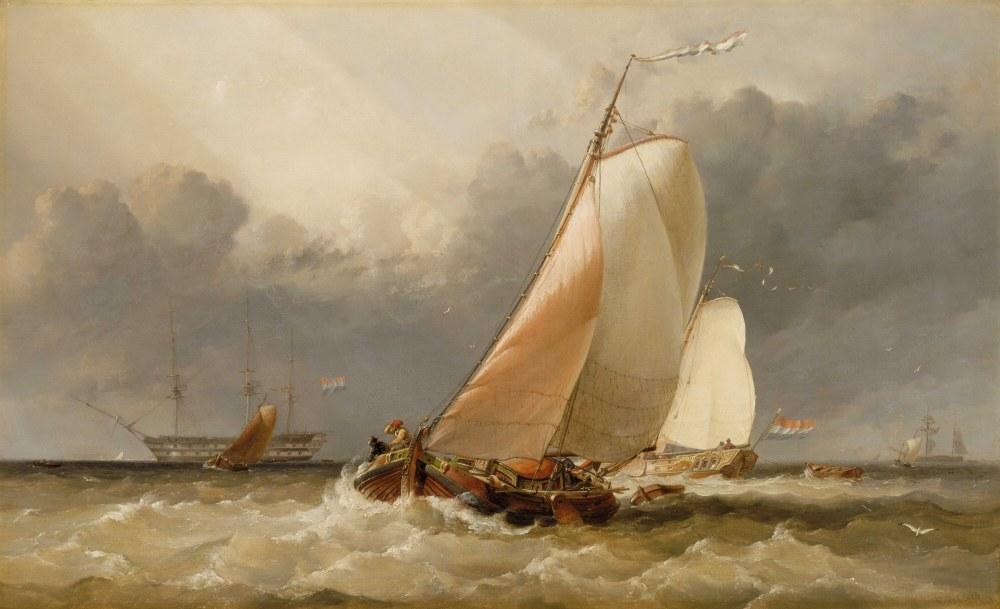 Dutch Yachting OnThe Zuider Zee, Clarkson Stanfield, Canvas, Clarkson Frederick Stanfield, kanvas tablo, canvas print sales