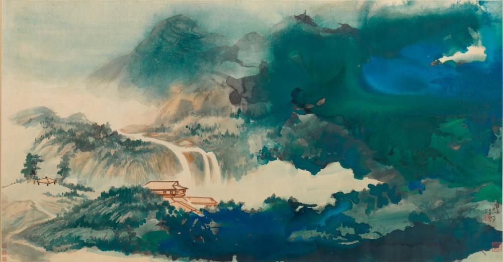 Daqian Zhang Su ve Sıçrayan Renkte Yağmurdan Sonra Gökyüzüne Bakarken, Kanvas Tablo, Daqian Zhang
