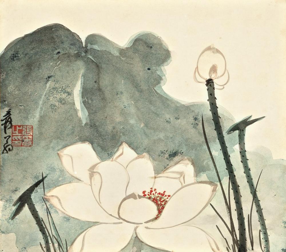 Daqian Zhang Lotus Üçlü, Kanvas Tablo, Daqian Zhang