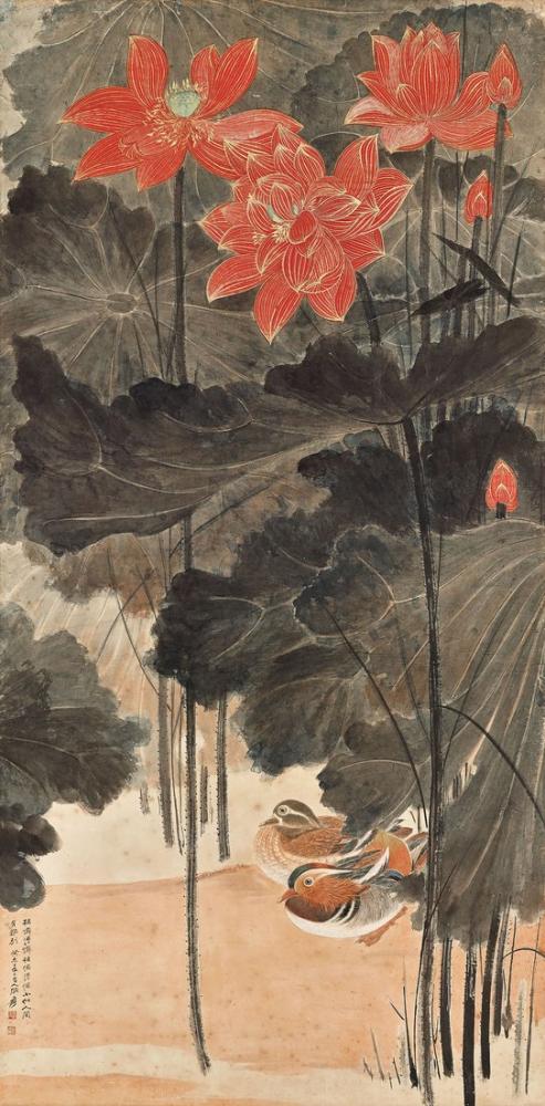 Daqian Zhang Kırmızı Lotus Ve Mandarin Ördekler, Kanvas Tablo, Daqian Zhang