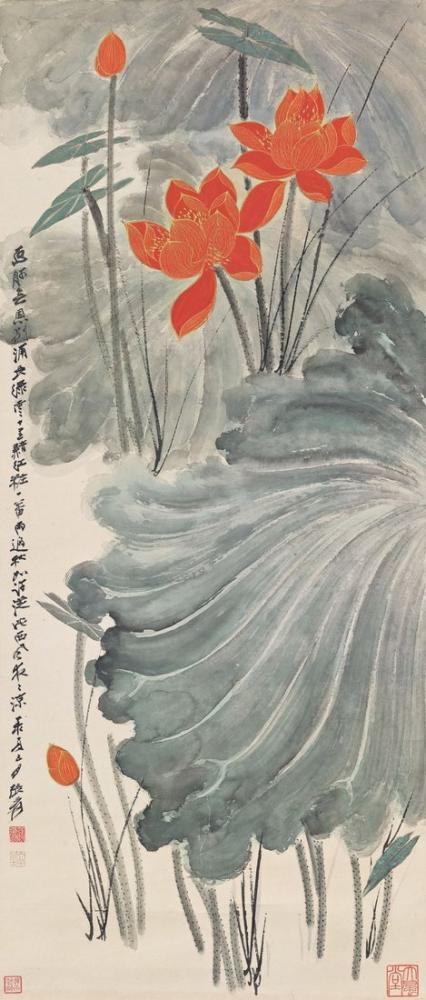 Daqian Zhang Kırmızı Lotus, Kanvas Tablo, Daqian Zhang