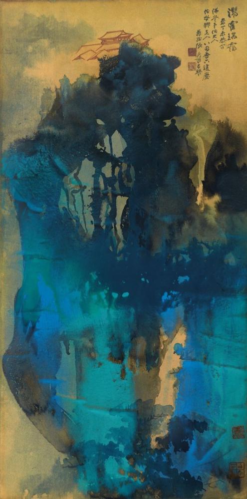Daqian Zhang Lush Mountains In Misty Gleam, Canvas, Daqian Zhang, kanvas tablo, canvas print sales