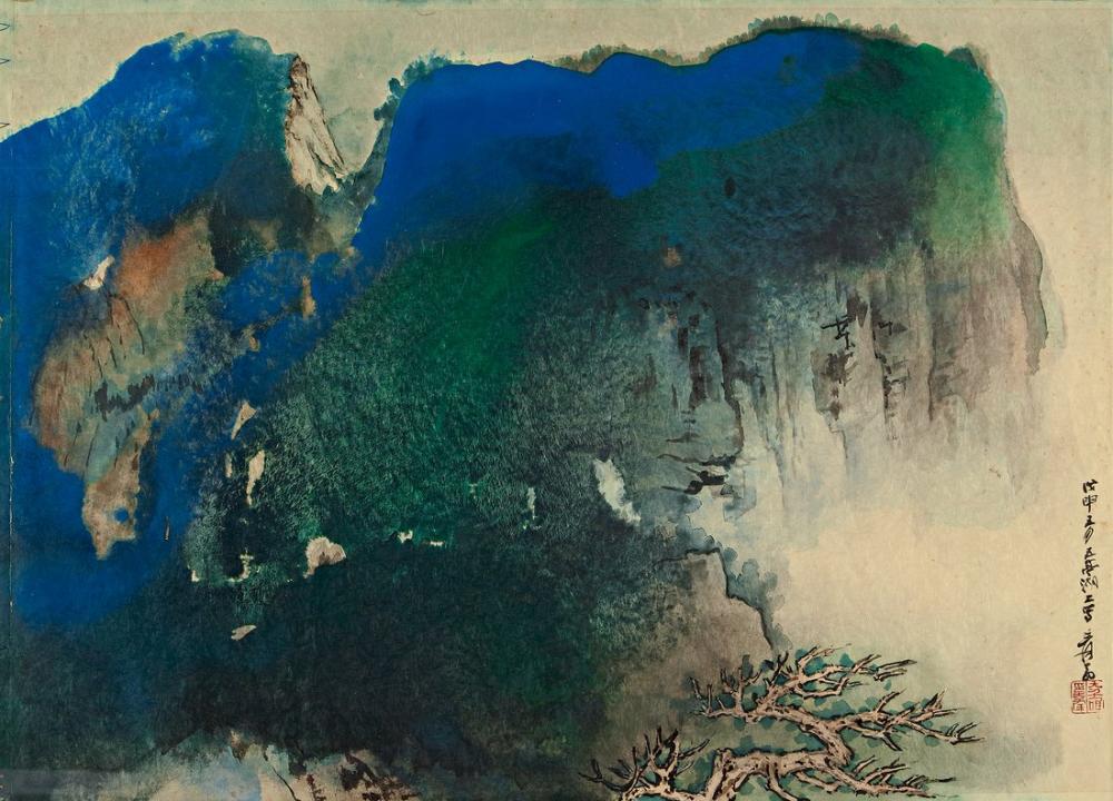 Daqian Zhang Mavi Uçurum Ve Eski Ağaç, Kanvas Tablo, Daqian Zhang