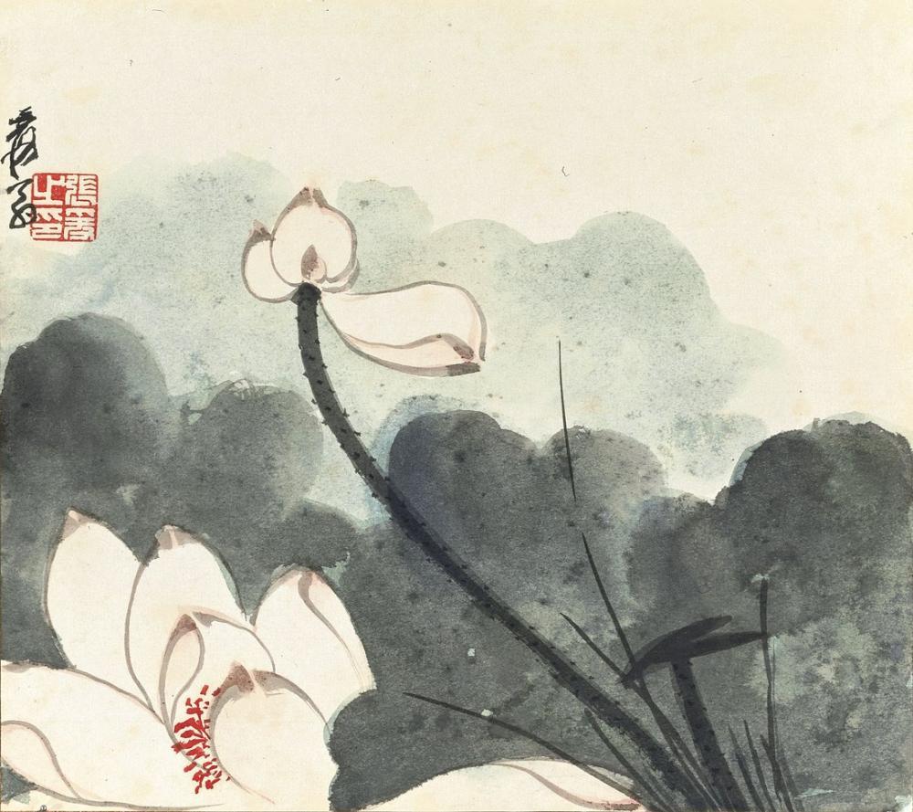 Daqian Zhang Lotus Rüzgar, Kanvas Tablo, Daqian Zhang