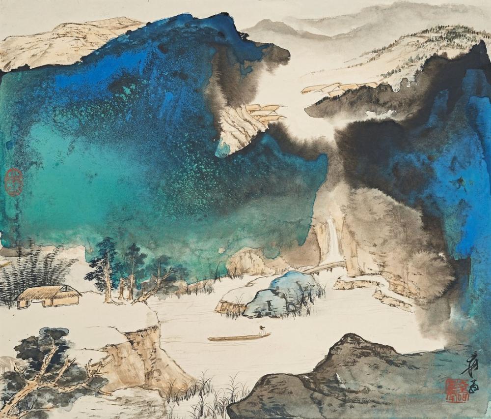 Daqian Zhang Turkuaz Dağları Arasında Yelken, Kanvas Tablo, Daqian Zhang, kanvas tablo, canvas print sales