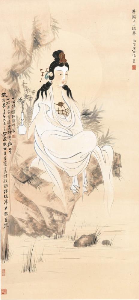 Daqian Zhang Guanyin Statue Axis, Canvas, Daqian Zhang, kanvas tablo, canvas print sales