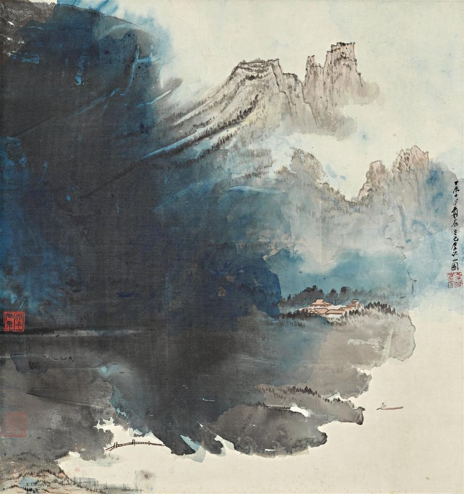 Daqian Zhang Boating On Mountain Lake, Canvas, Daqian Zhang, kanvas tablo, canvas print sales