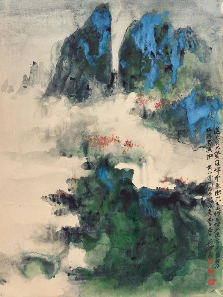 Daqian Zhang Pomo Tarzında Huang Dağı, Kanvas Tablo, Daqian Zhang, kanvas tablo, canvas print sales