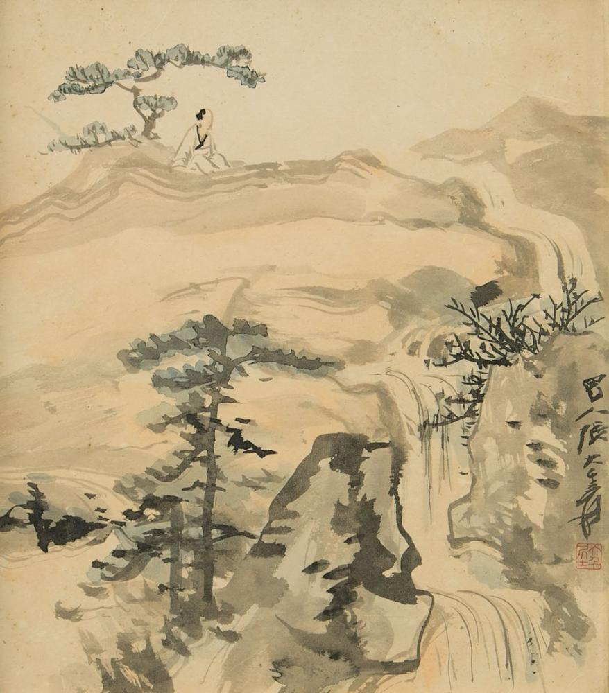 Daqian Zhang Şelale İle İlgilenen Bilgin, Kanvas Tablo, Daqian Zhang