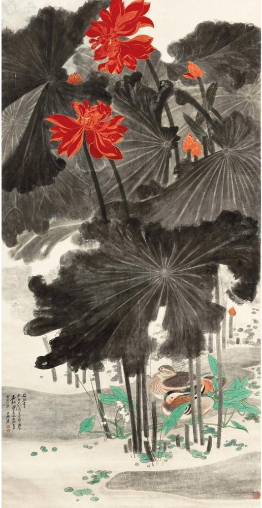 Daqian Zhang Lotus Ve Mandarin Ördekler, Kanvas Tablo, Daqian Zhang
