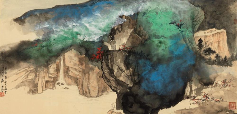 Daqian Zhang Muhteşem Tepelerde İlkbahar Kar, Kanvas Tablo, Daqian Zhang