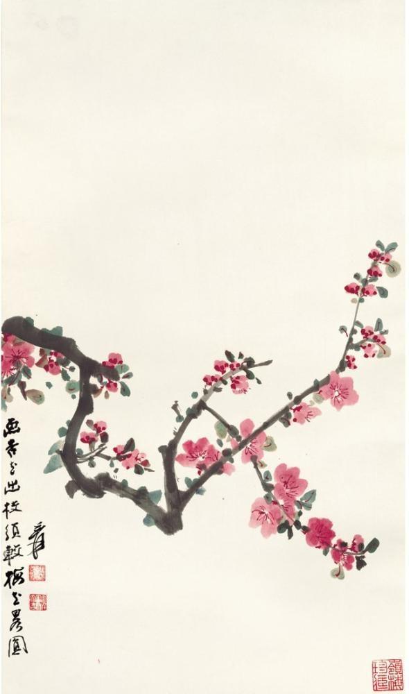 Daqian Zhang Kiraz Çiçekleri, Kanvas Tablo, Daqian Zhang, kanvas tablo, canvas print sales