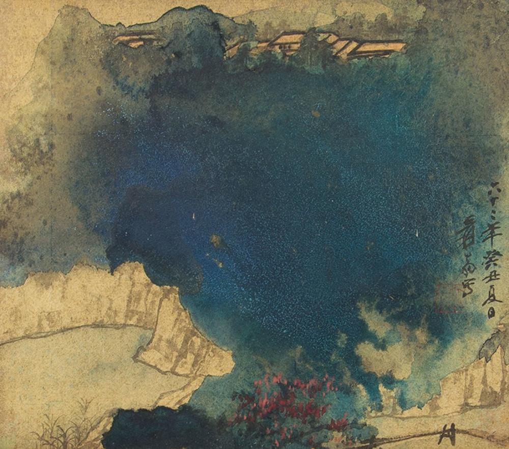 Daqian Zhang Antik Tapınaklar Ve Kırmızı Ağaçlar, Kanvas Tablo, Daqian Zhang, kanvas tablo, canvas print sales