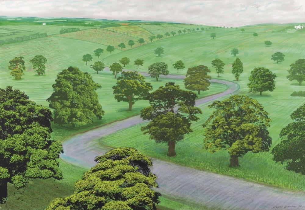 David Hockney, Daha Büyük Bir Yeşil Vadi, Kanvas Tablo, David Hockney
