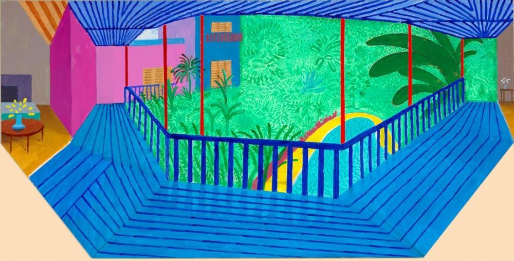 David Hockney, Mavi Teraslı ve Bahçeli Daha Büyük Bir İç Mekan, Kanvas Tablo, David Hockney