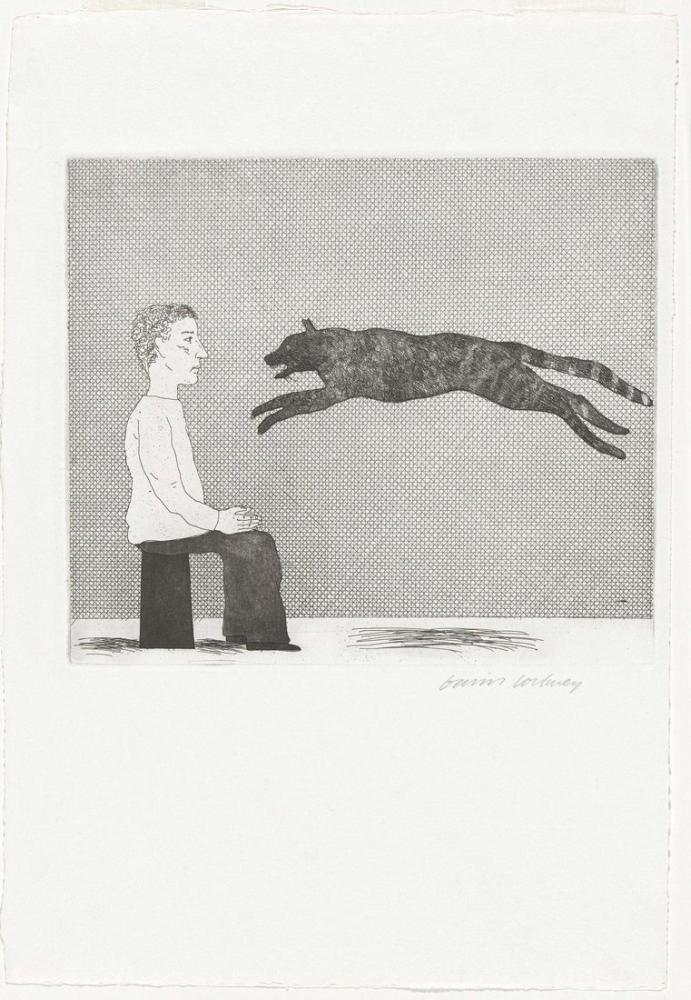 David Hockney, Sıçrayan Kara Kedi 1969, Figür, David Hockney