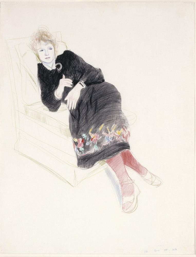 David Hockney, Celia in a Black Dress with Red Stockings, Figure, David Hockney, kanvas tablo, canvas print sales