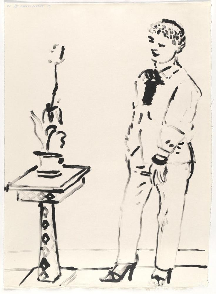 David Hockney, Celia Derin Düşünme 1979, Figür, David Hockney